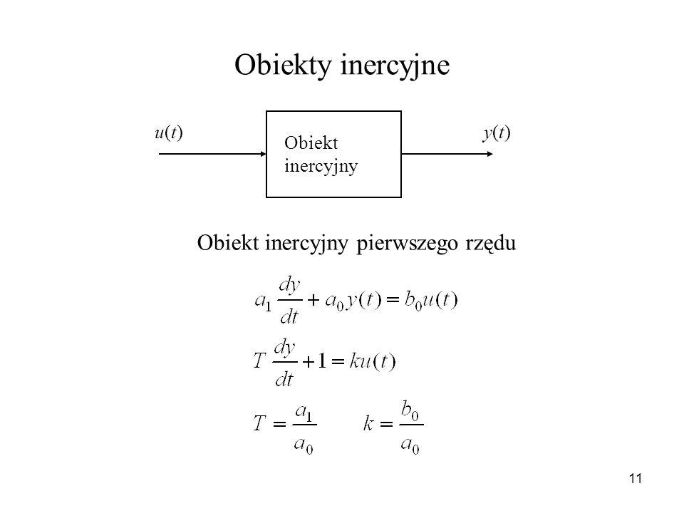 11 Obiekty inercyjne Obiekt inercyjny u(t)u(t)y(t)y(t) Obiekt inercyjny pierwszego rzędu