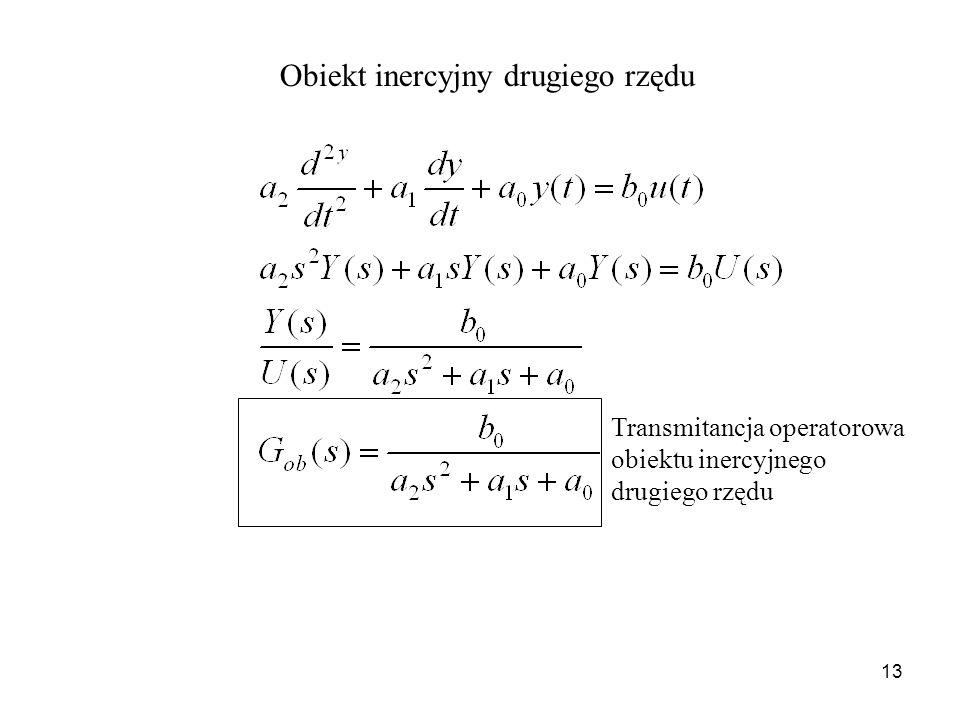 13 Obiekt inercyjny drugiego rzędu Transmitancja operatorowa obiektu inercyjnego drugiego rzędu