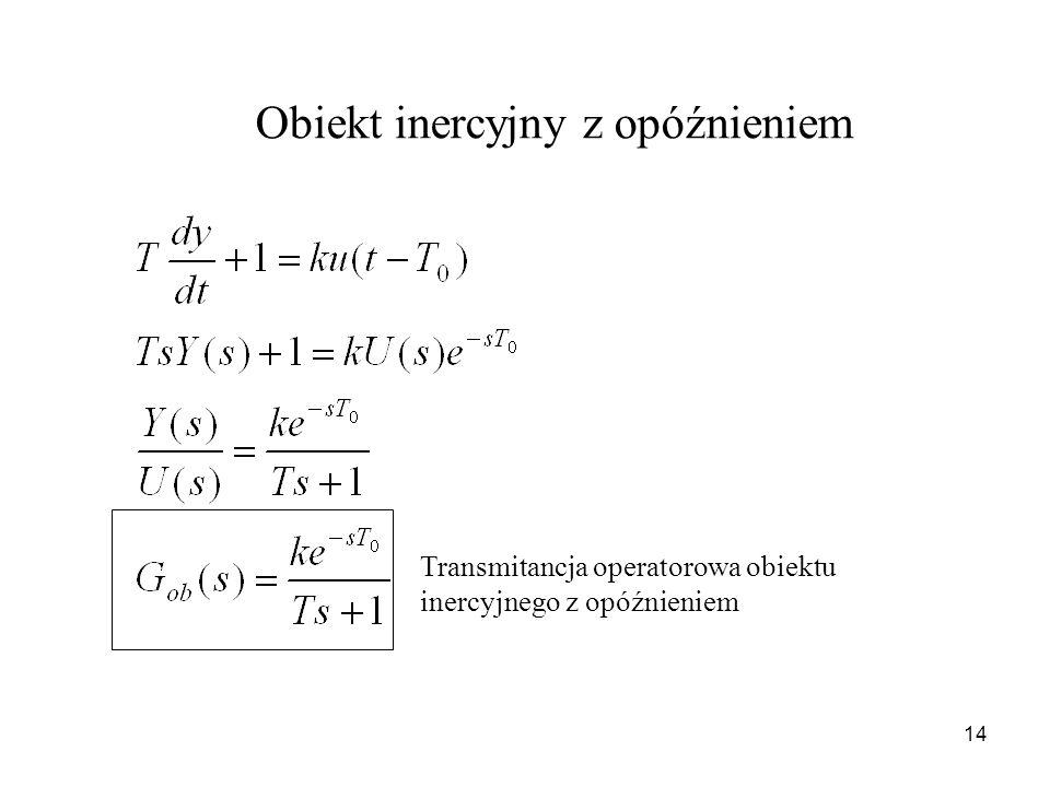14 Transmitancja operatorowa obiektu inercyjnego z opóźnieniem Obiekt inercyjny z opóźnieniem