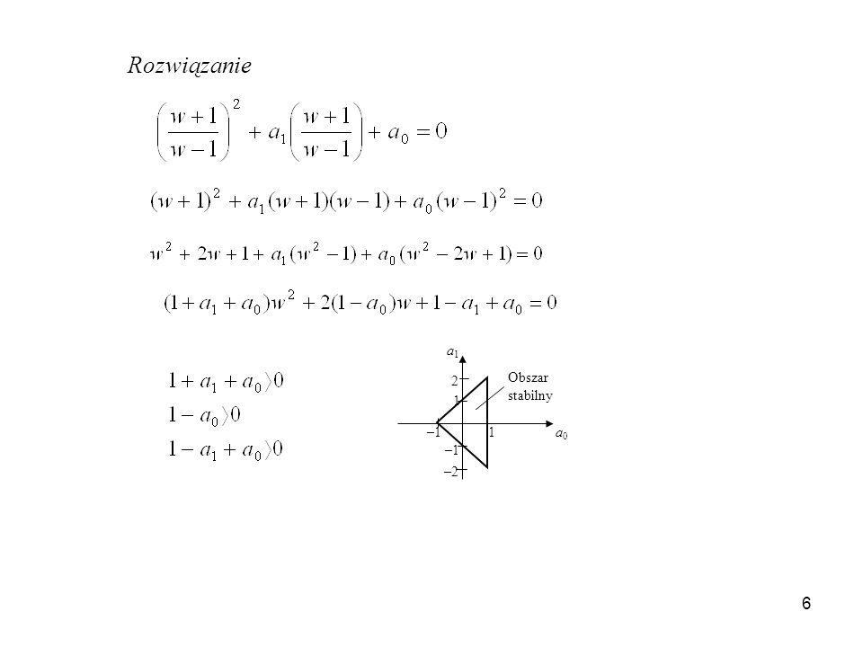 6 Rozwiązanie a0a0 a1a1 1 –1 1 –2 2 Obszar stabilny