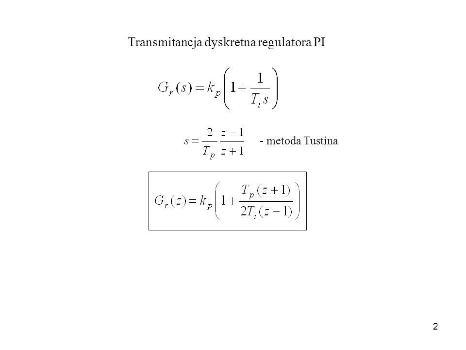 2 Transmitancja dyskretna regulatora PI - metoda Tustina