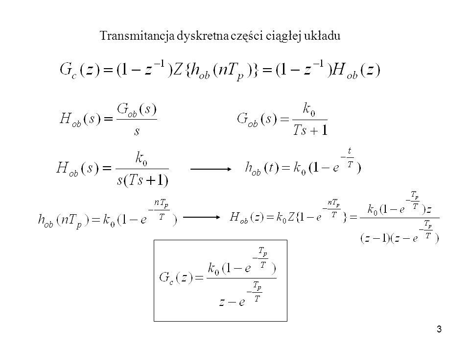 3 Transmitancja dyskretna części ciągłej układu