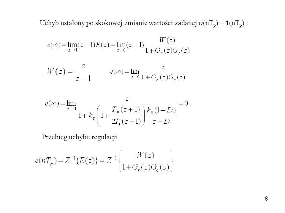 8 Uchyb ustalony po skokowej zmianie wartości zadanej w(nT p ) = 1(nT p ) : Przebieg uchybu regulacji