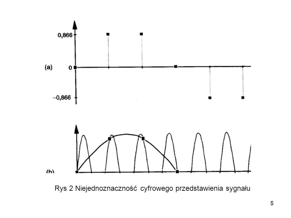 6 Z przedstawionego wyżej przykładu wynika, że próbkowanie ze zbyt niską częstotliwością prowadzi do mylnej interpretacji częstotliwości sygnału odtworzonego jako niższa niż rzeczywista.