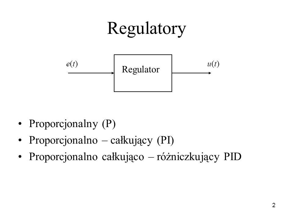 2 Regulatory Proporcjonalny (P) Proporcjonalno – całkujący (PI) Proporcjonalno całkująco – różniczkujący PID Regulator e(t)e(t)u(t)u(t)