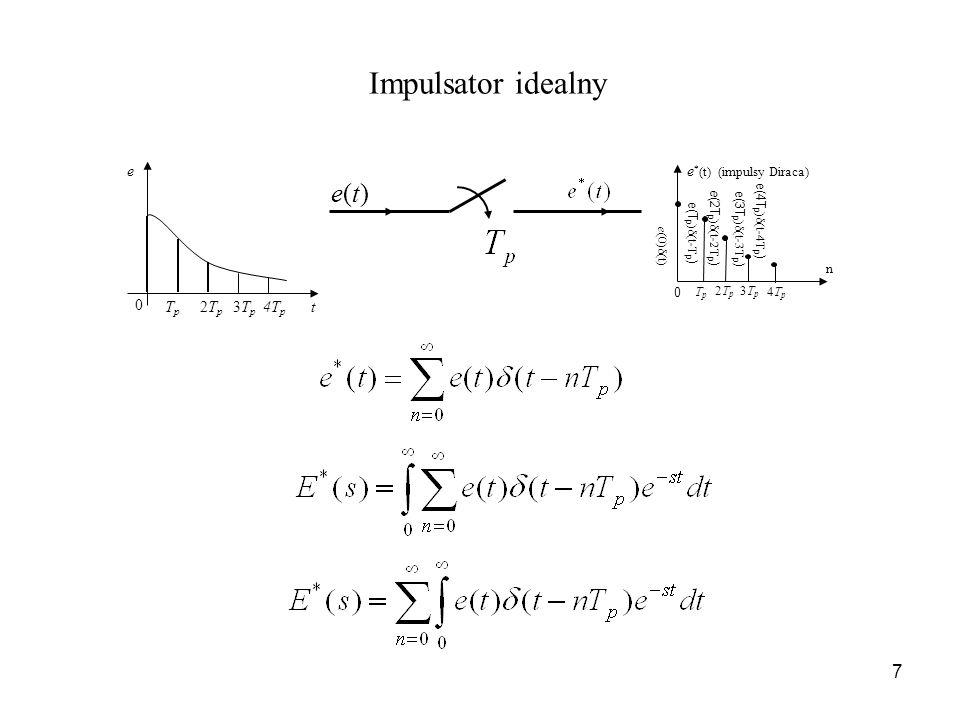 7 Impulsator idealny e * (t) (impulsy Diraca) 0 TpTp 2Tp2Tp 3Tp3Tp 4Tp4Tp n e (0)δ(t) e(T p )δ(t-T p ) e (2T p )δ(t-2T p ) e(3T p )δ(t-3T p ) e(4T p )