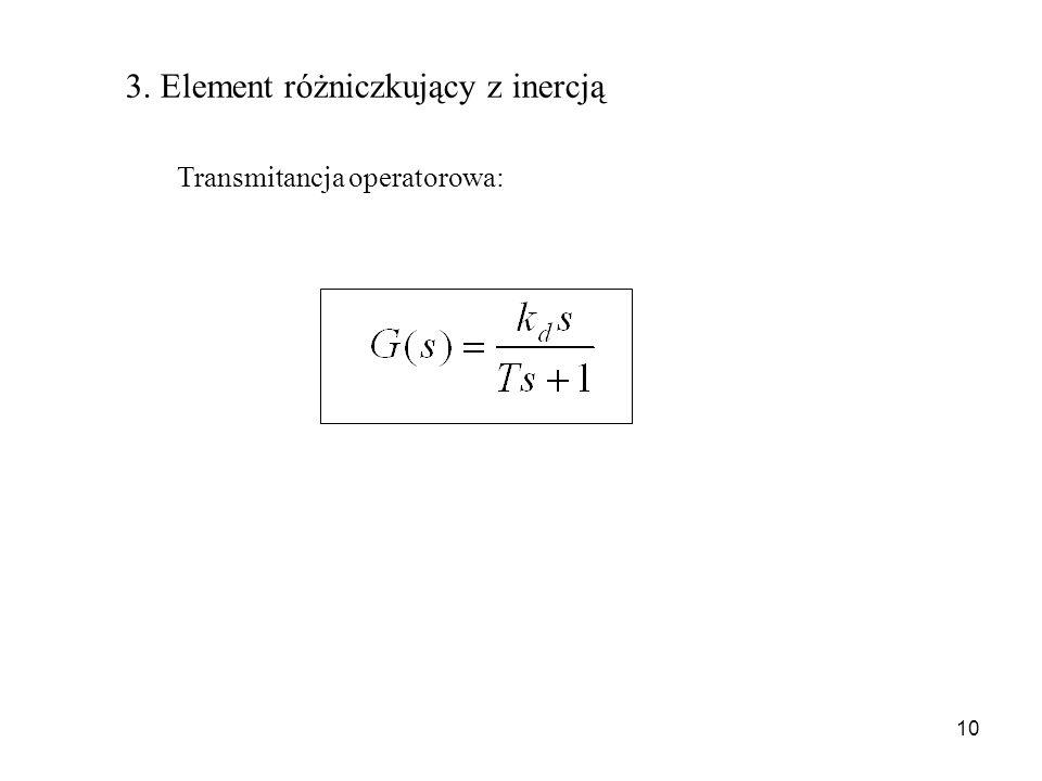 10 3. Element różniczkujący z inercją Transmitancja operatorowa: