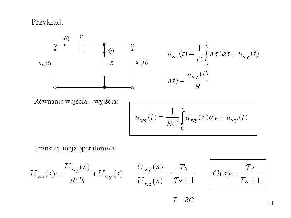 11 u wy (t) u we (t) R C i(t)i(t) i(t)i(t) Przykład: Równanie wejścia – wyjścia: Transmitancja operatorowa: T = RC.