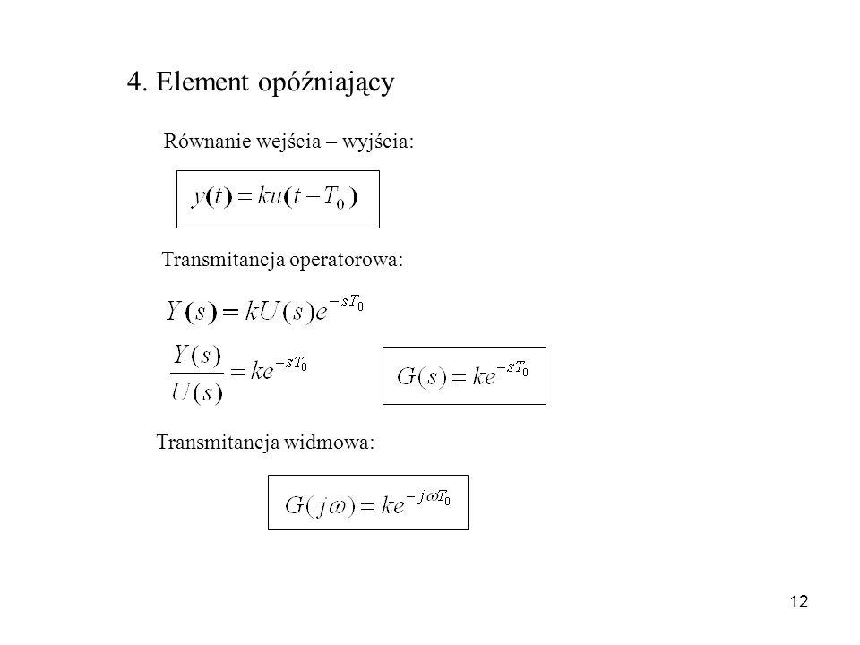 12 4. Element opóźniający Równanie wejścia – wyjścia: Transmitancja operatorowa: Transmitancja widmowa: