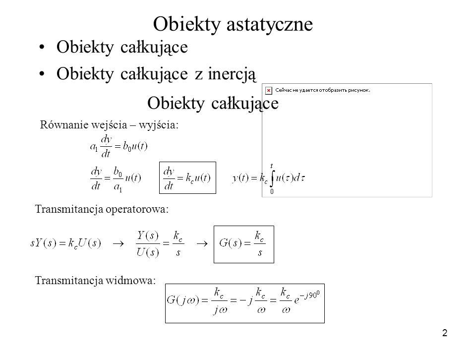 2 Obiekty astatyczne Obiekty całkujące Obiekty całkujące z inercją Obiekty całkujące Równanie wejścia – wyjścia: Transmitancja operatorowa: Transmitancja widmowa:
