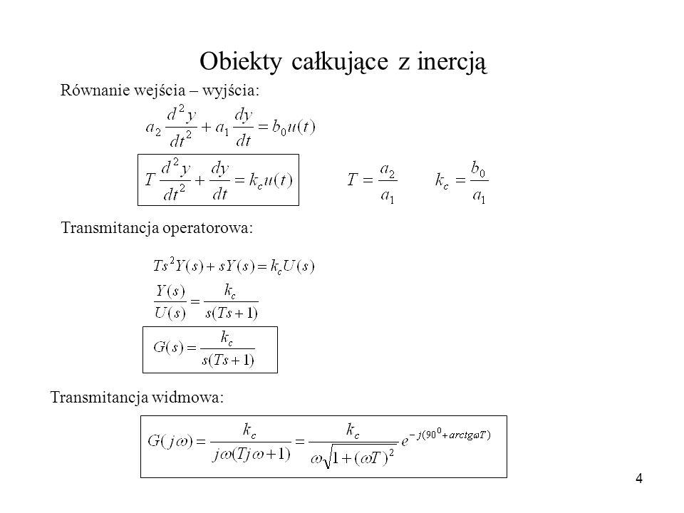 4 Obiekty całkujące z inercją Równanie wejścia – wyjścia: Transmitancja operatorowa: Transmitancja widmowa: