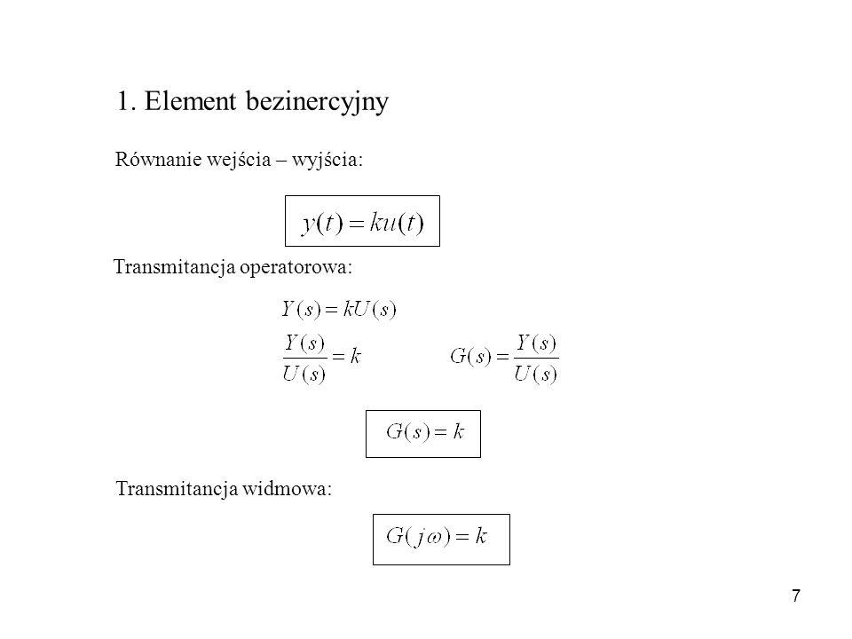 7 Równanie wejścia – wyjścia: Transmitancja operatorowa: Transmitancja widmowa: 1. Element bezinercyjny