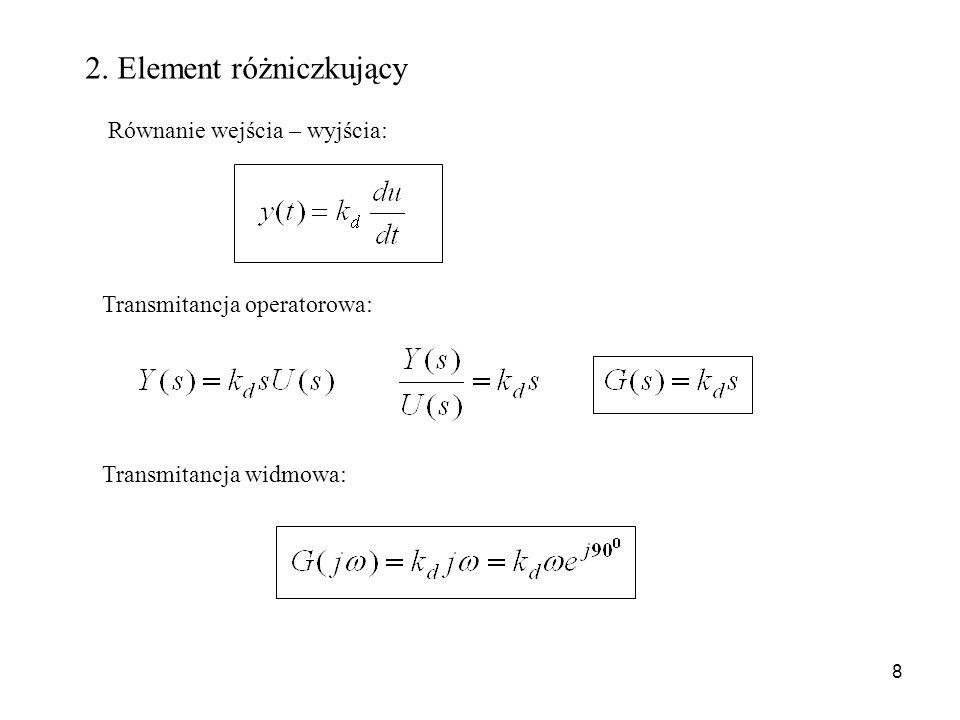 8 Transmitancja operatorowa: Transmitancja widmowa: Równanie wejścia – wyjścia: 2. Element różniczkujący