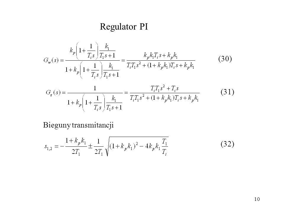 10 Regulator PI (30) (31) Bieguny transmitancji (32)