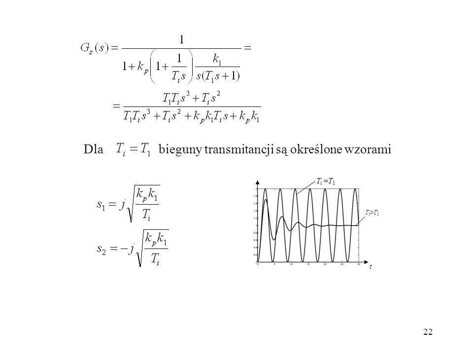 22 Dlabieguny transmitancji są określone wzorami T i =T 1 Ti>T1Ti>T1 t