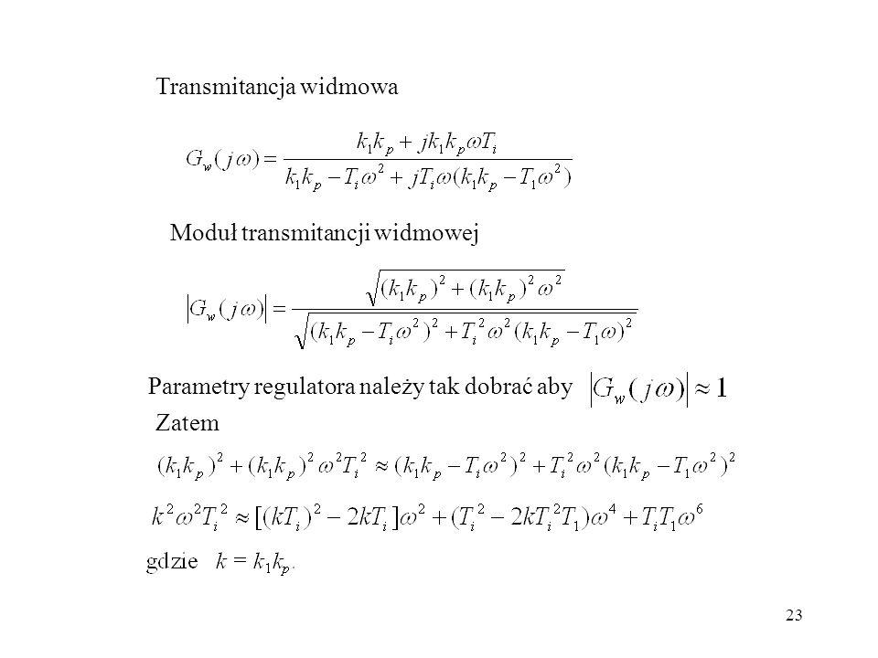 23 Transmitancja widmowa Moduł transmitancji widmowej Parametry regulatora należy tak dobrać aby Zatem