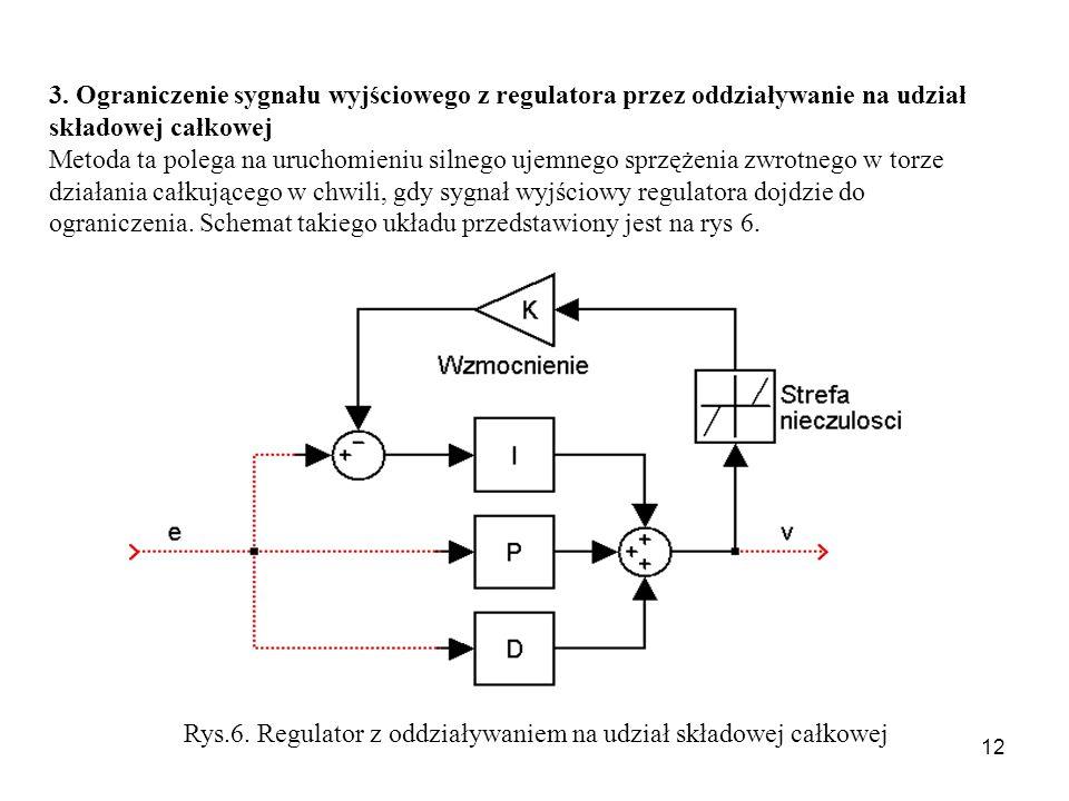12 3. Ograniczenie sygnału wyjściowego z regulatora przez oddziaływanie na udział składowej całkowej Metoda ta polega na uruchomieniu silnego ujemnego