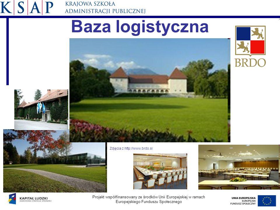 Baza logistyczna Projekt współfinansowany ze środków Unii Europejskiej w ramach Europejskiego Funduszu Społecznego Zdjęcia z http://www.brdo.si
