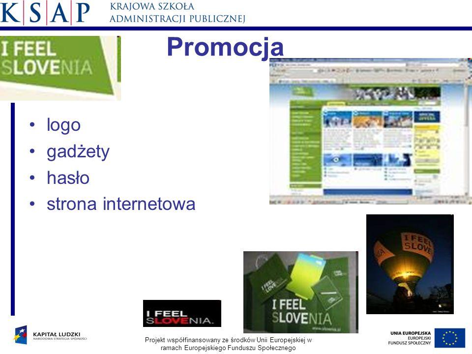 Promocja logo gadżety hasło strona internetowa Projekt współfinansowany ze środków Unii Europejskiej w ramach Europejskiego Funduszu Społecznego