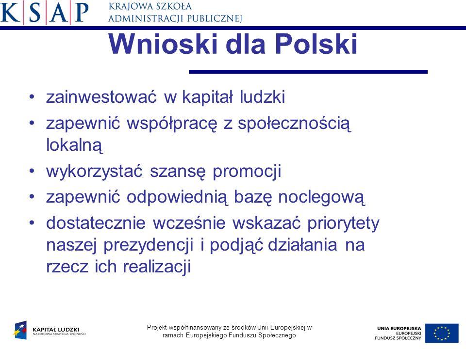 Wnioski dla Polski zainwestować w kapitał ludzki zapewnić współpracę z społecznością lokalną wykorzystać szansę promocji zapewnić odpowiednią bazę noc
