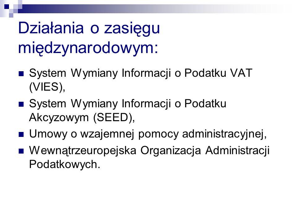Działania o zasięgu międzynarodowym: System Wymiany Informacji o Podatku VAT (VIES), System Wymiany Informacji o Podatku Akcyzowym (SEED), Umowy o wza