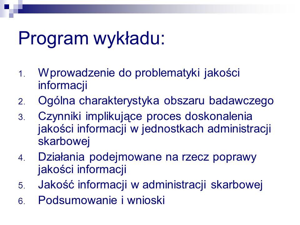 Program wykładu: 1.Wprowadzenie do problematyki jakości informacji 2.