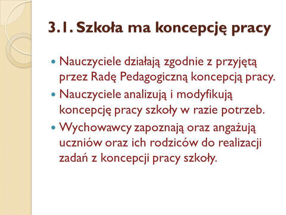 3.1. Szkoła ma koncepcję pracy Nauczyciele działają zgodnie z przyjętą przez Radę Pedagogiczną koncepcją pracy. Nauczyciele analizują i modyfikują kon