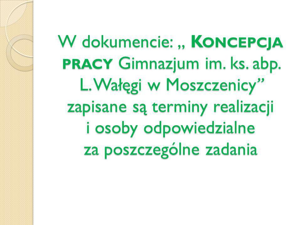 W dokumencie: K ONCEPCJA PRACY Gimnazjum im. ks. abp. L. Wałęgi w Moszczenicy zapisane są terminy realizacji i osoby odpowiedzialne za poszczególne za