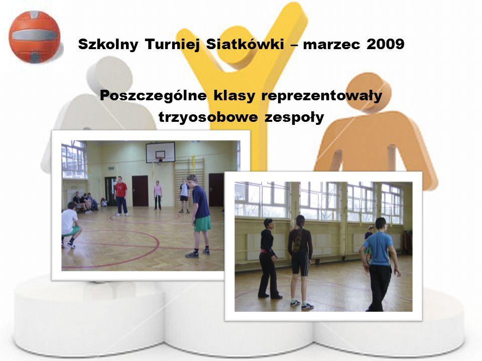 Szkolny Turniej Siatkówki – marzec 2009 Poszczególne klasy reprezentowały trzyosobowe zespoły