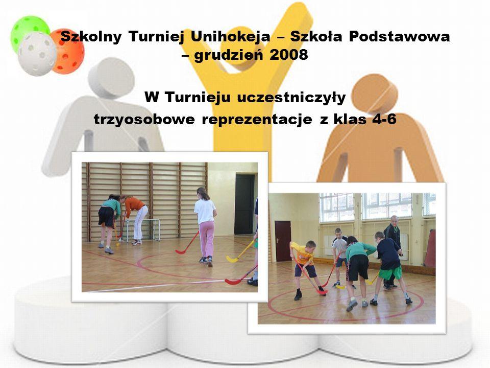 Szkolny Turniej Unihokeja – Szkoła Podstawowa – grudzień 2008 W Turnieju uczestniczyły trzyosobowe reprezentacje z klas 4-6