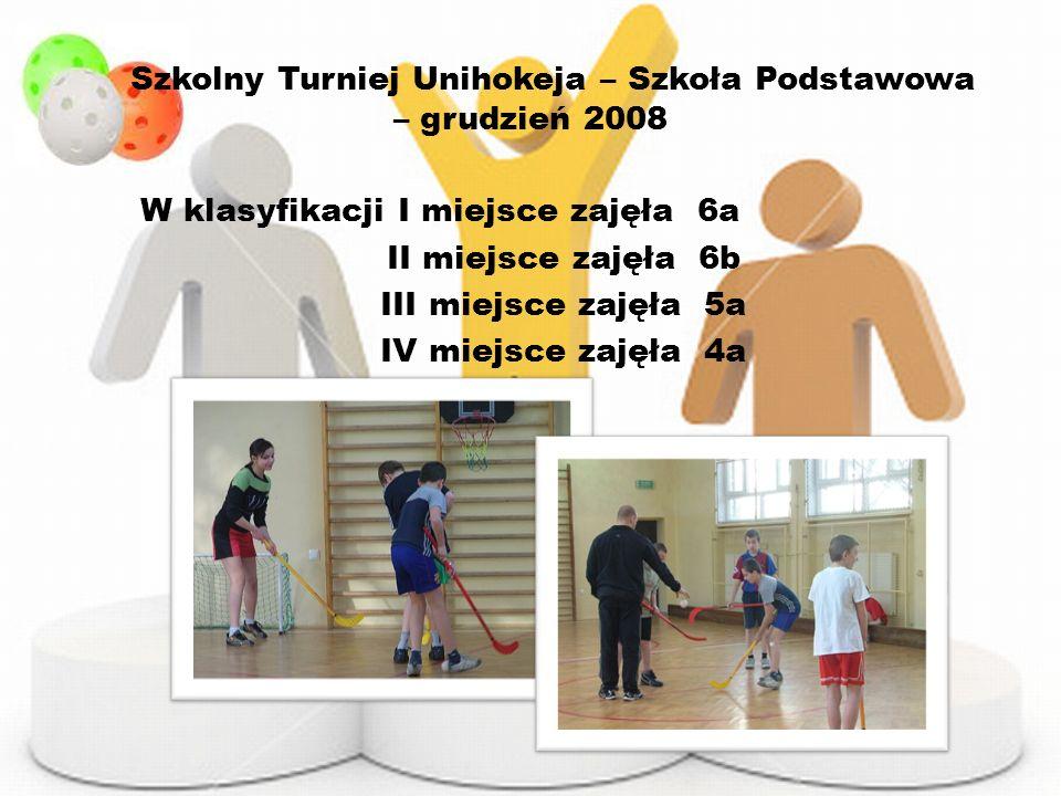 Szkolny Turniej Unihokeja – Szkoła Podstawowa – grudzień 2008 W klasyfikacji I miejsce zajęła 6a II miejsce zajęła 6b III miejsce zajęła 5a IV miejsce