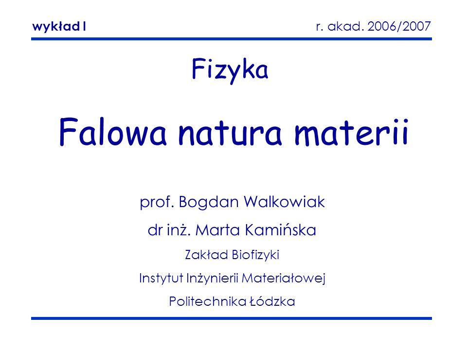 Falowa natura materii Zakład Biofizyki 1 Fizyka Falowa natura materii prof. Bogdan Walkowiak dr inż. Marta Kamińska Zakład Biofizyki Instytut Inżynier