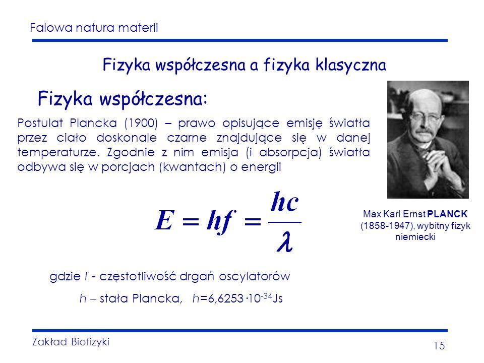 Falowa natura materii Zakład Biofizyki 15 Fizyka współczesna a fizyka klasyczna Fizyka współczesna: Postulat Plancka (1900) – prawo opisujące emisję światła przez ciało doskonale czarne znajdujące się w danej temperaturze.