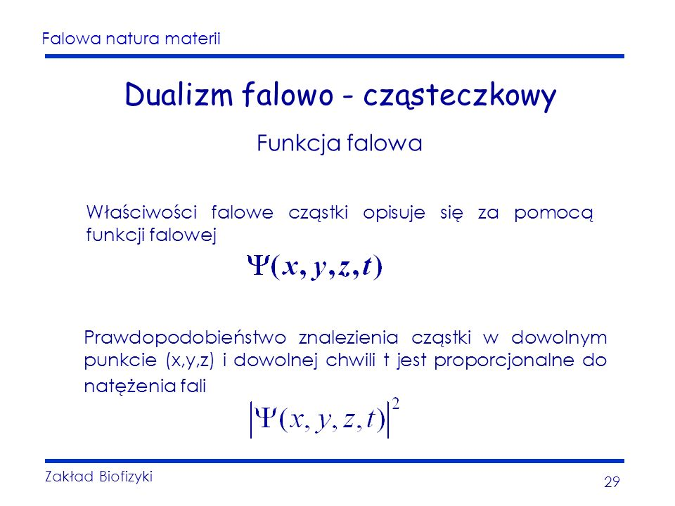 Falowa natura materii Zakład Biofizyki 29 Dualizm falowo - cząsteczkowy Funkcja falowa Właściwości falowe cząstki opisuje się za pomocą funkcji falowej Prawdopodobieństwo znalezienia cząstki w dowolnym punkcie (x,y,z) i dowolnej chwili t jest proporcjonalne do natężenia fali