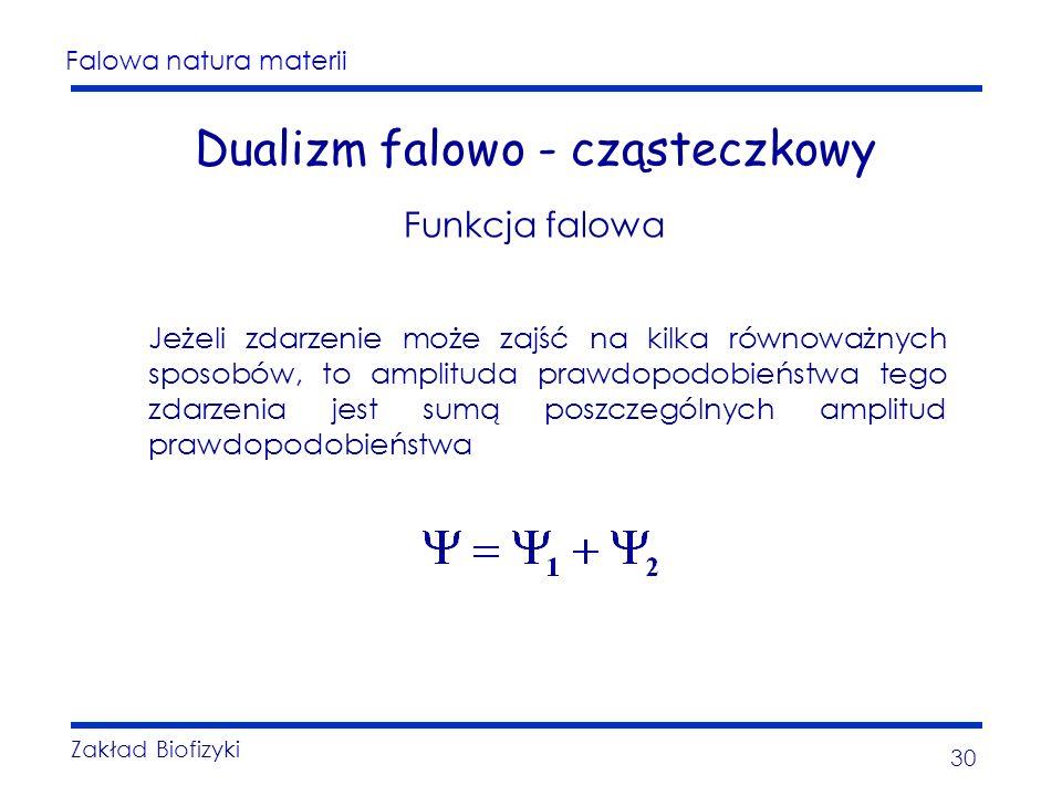 Falowa natura materii Zakład Biofizyki 30 Dualizm falowo - cząsteczkowy Funkcja falowa Jeżeli zdarzenie może zajść na kilka równoważnych sposobów, to amplituda prawdopodobieństwa tego zdarzenia jest sumą poszczególnych amplitud prawdopodobieństwa