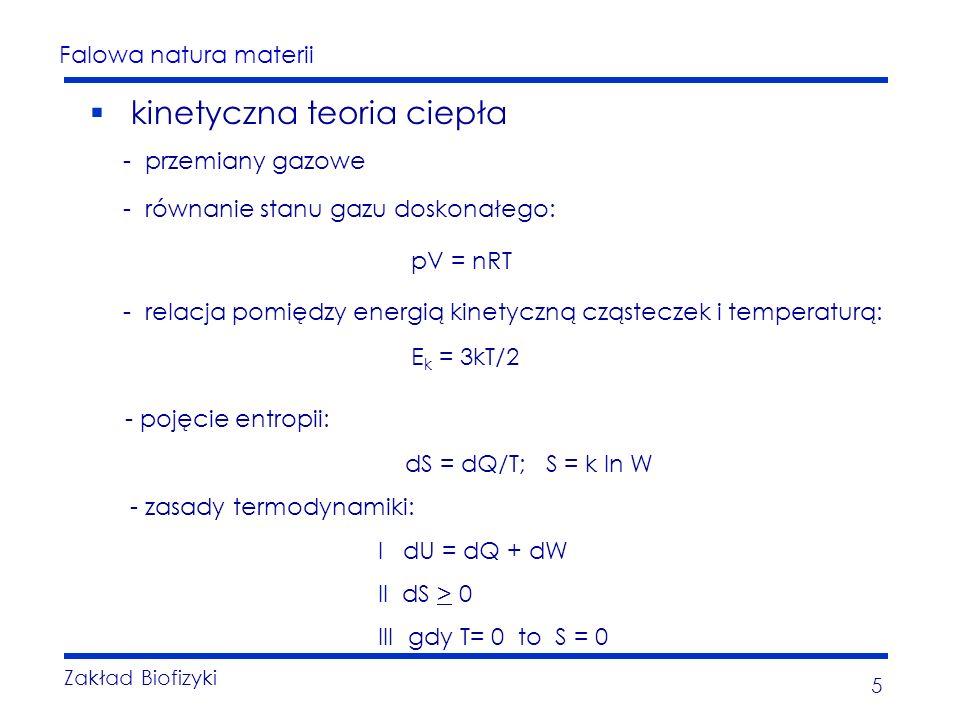 Falowa natura materii Zakład Biofizyki 5 kinetyczna teoria ciepła - przemiany gazowe - równanie stanu gazu doskonałego: pV = nRT - relacja pomiędzy energią kinetyczną cząsteczek i temperaturą: E k = 3kT/2 - pojęcie entropii: dS = dQ/T; S = k ln W - zasady termodynamiki: I dU = dQ + dW II dS > 0 III gdy T= 0 to S = 0