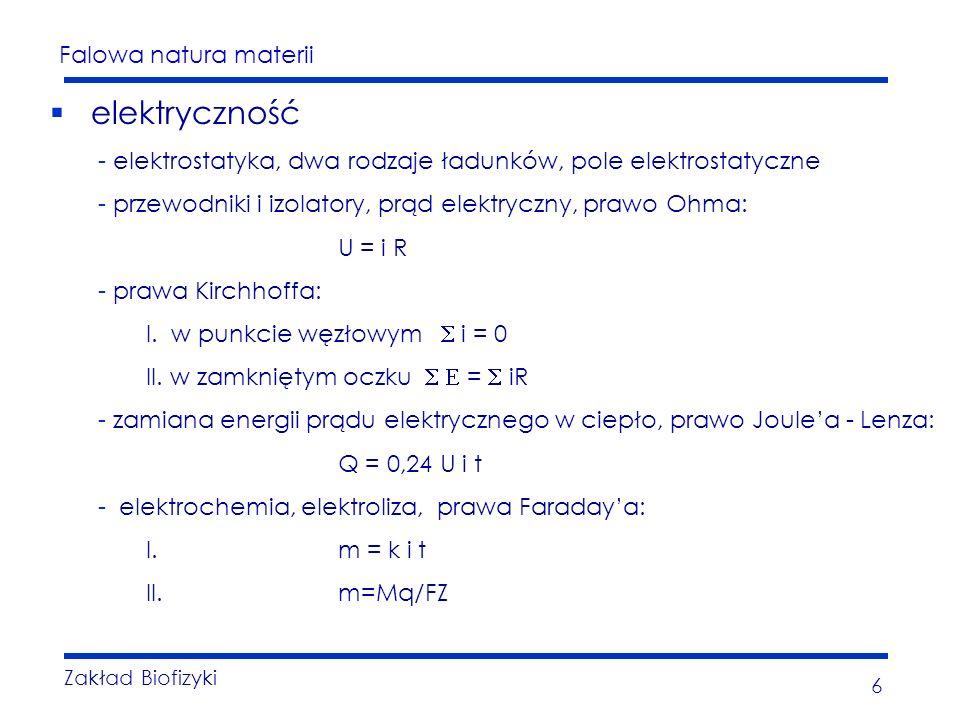 Falowa natura materii Zakład Biofizyki 6 elektryczność - elektrostatyka, dwa rodzaje ładunków, pole elektrostatyczne - przewodniki i izolatory, prąd elektryczny, prawo Ohma: U = i R - prawa Kirchhoffa: I.