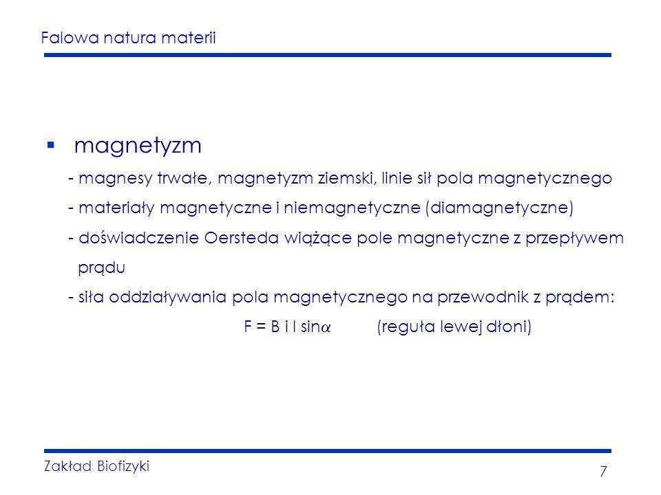 Falowa natura materii Zakład Biofizyki 7 magnetyzm - magnesy trwałe, magnetyzm ziemski, linie sił pola magnetycznego - materiały magnetyczne i niemagnetyczne (diamagnetyczne) - doświadczenie Oersteda wiążące pole magnetyczne z przepływem prądu - siła oddziaływania pola magnetycznego na przewodnik z prądem: F = B i l sin (reguła lewej dłoni)