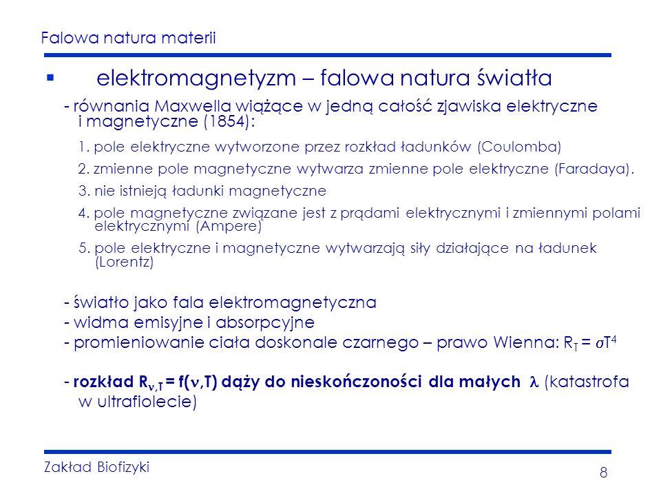 Falowa natura materii Zakład Biofizyki 8 elektromagnetyzm – falowa natura światła - równania Maxwella wiążące w jedną całość zjawiska elektryczne i ma