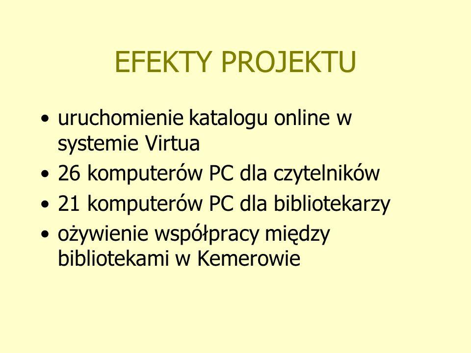 EFEKTY PROJEKTU uruchomienie katalogu online w systemie Virtua 26 komputerów PC dla czytelników 21 komputerów PC dla bibliotekarzy ożywienie współprac