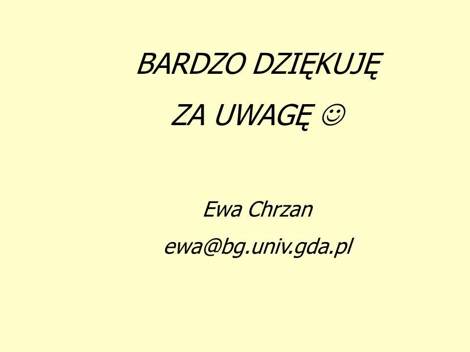 BARDZO DZIĘKUJĘ ZA UWAGĘ Ewa Chrzan ewa@bg.univ.gda.pl