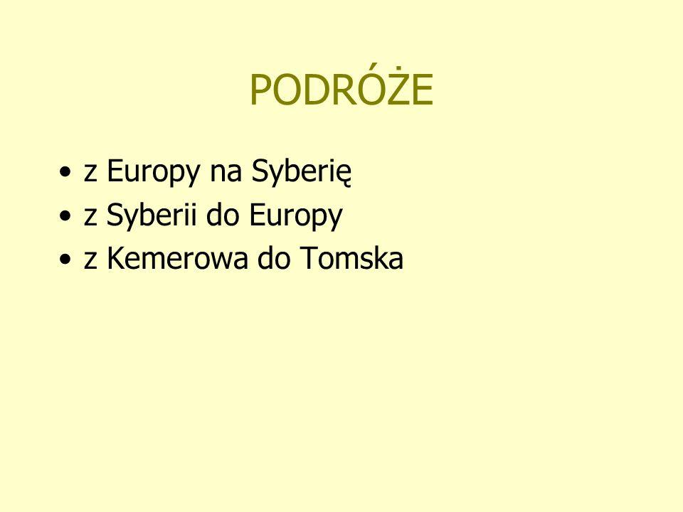 PODRÓŻE z Europy na Syberię z Syberii do Europy z Kemerowa do Tomska
