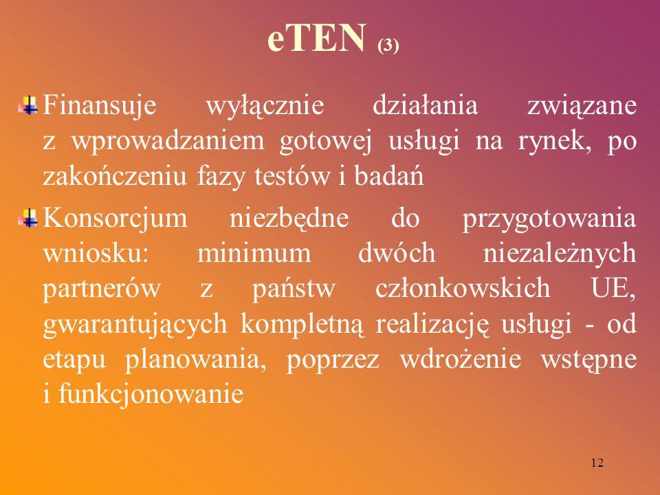 12 eTEN (3) Finansuje wyłącznie działania związane z wprowadzaniem gotowej usługi na rynek, po zakończeniu fazy testów i badań Konsorcjum niezbędne do