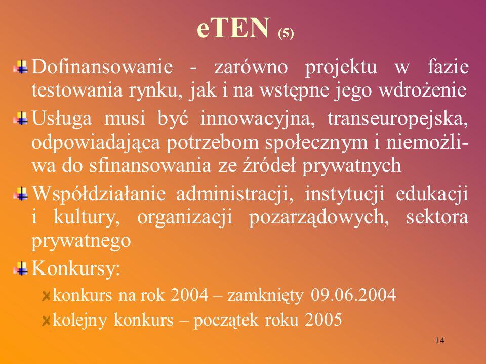 14 eTEN (5) Dofinansowanie - zarówno projektu w fazie testowania rynku, jak i na wstępne jego wdrożenie Usługa musi być innowacyjna, transeuropejska,