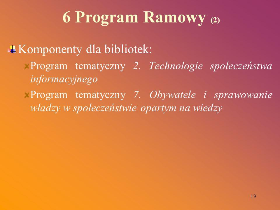 19 6 Program Ramowy (2) Komponenty dla bibliotek: Program tematyczny 2. Technologie społeczeństwa informacyjnego Program tematyczny 7. Obywatele i spr