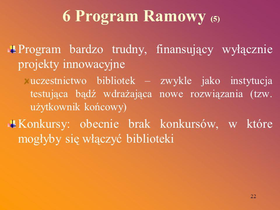 22 6 Program Ramowy (5) Program bardzo trudny, finansujący wyłącznie projekty innowacyjne uczestnictwo bibliotek – zwykle jako instytucja testująca bą