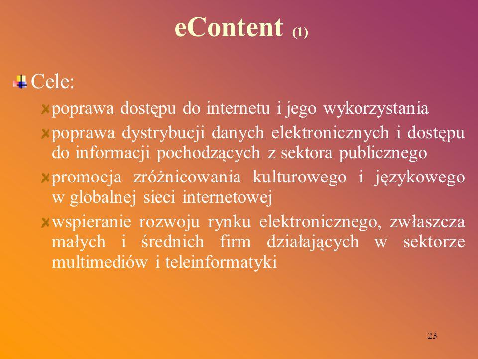 23 eContent (1) Cele: poprawa dostępu do internetu i jego wykorzystania poprawa dystrybucji danych elektronicznych i dostępu do informacji pochodzącyc