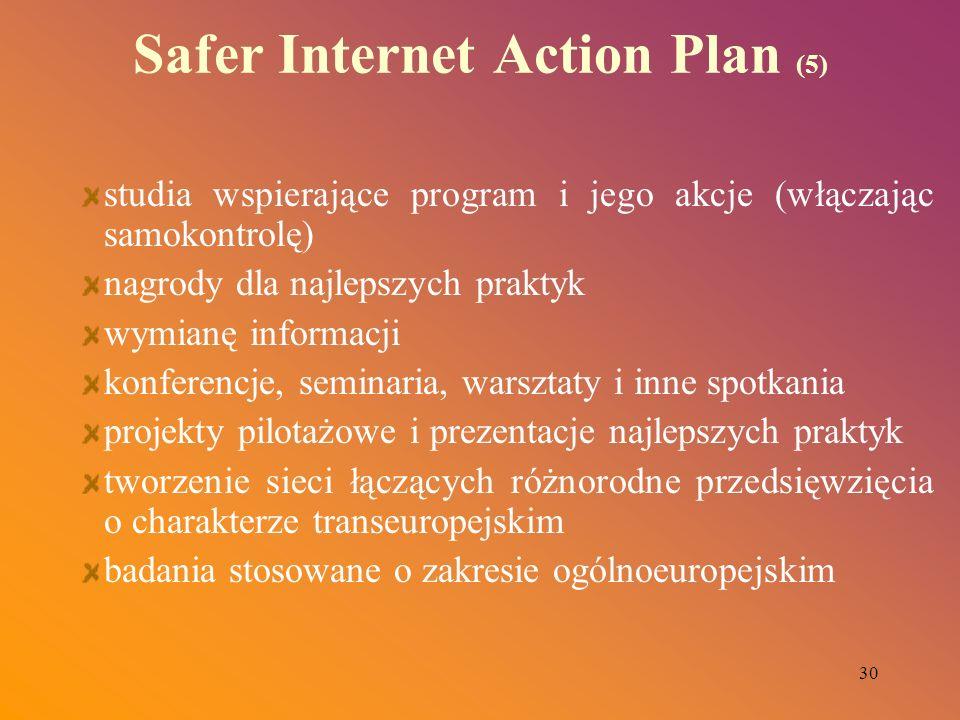 30 Safer Internet Action Plan (5) studia wspierające program i jego akcje (włączając samokontrolę) nagrody dla najlepszych praktyk wymianę informacji