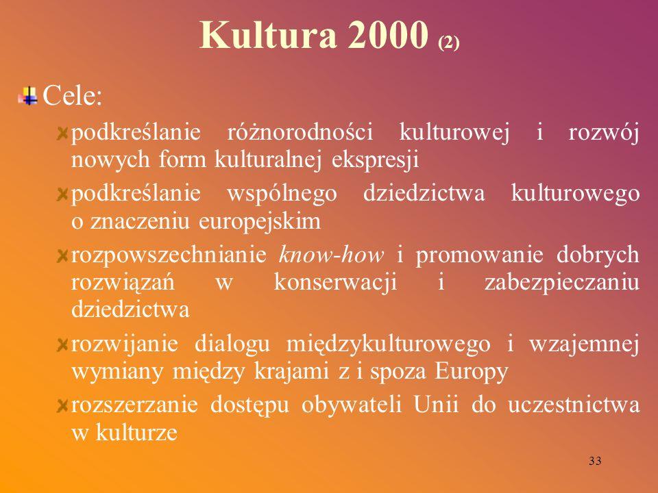 33 Kultura 2000 (2) Cele: podkreślanie różnorodności kulturowej i rozwój nowych form kulturalnej ekspresji podkreślanie wspólnego dziedzictwa kulturow