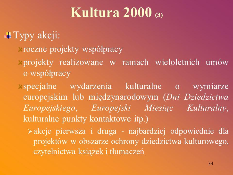 34 Kultura 2000 (3) Typy akcji: roczne projekty współpracy projekty realizowane w ramach wieloletnich umów o współpracy specjalne wydarzenia kulturaln